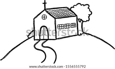 church illustration hand drawn