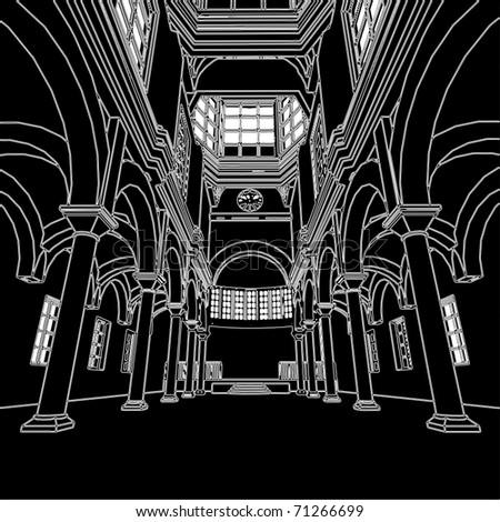 church interior vector 01