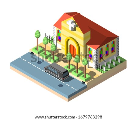 Church Isometric House Building Cemetery With Road And Cars Vector stock photo