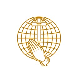 Church logo. Christian symbols. Praying hands and the cross of Jesus Christ on the background of the globe.