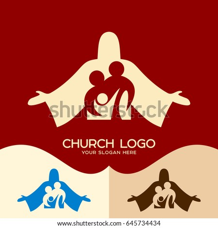 Church logo. Cristian symbols. Family in Christ Jesus