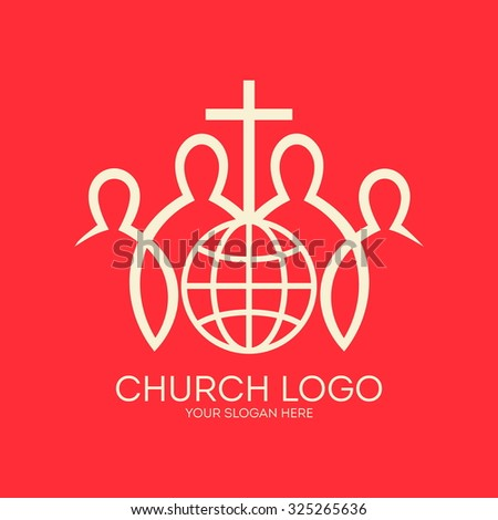 Church logo. People around the globe with a cross. Missions, christian fellowship, cross, members, globe, world, icon
