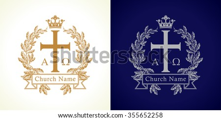 Church logotype. Luxurious traditional isolated crucifixion template in circle. Crucifix framed in palms. Old vector round branches, ribbon sign with Greek ABC letters. God's Kingdom spiritual symbol.
