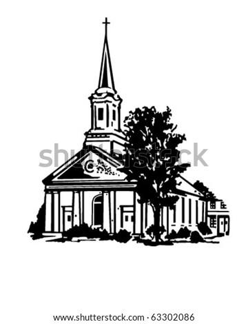 Church - Retro Clipart Illustration