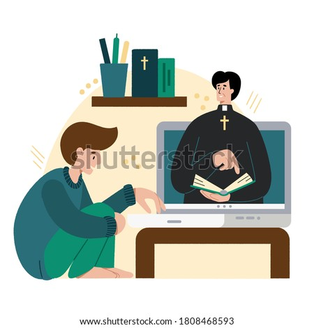 Church school online. The pastor conducts church services online. Concept Church and Liturgy online. Internet Church.
