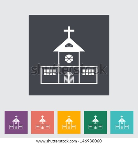 Church single flat icon Vector illustration