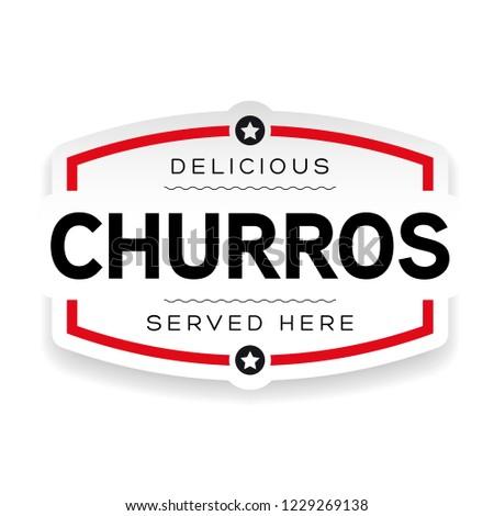 Churros vintage label sign