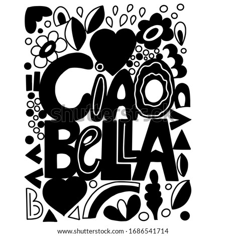 ciao bella greeting with doodle