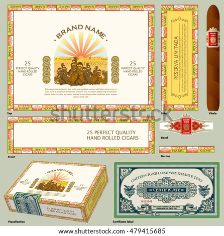 Cigar box. A set of vintage vector elements