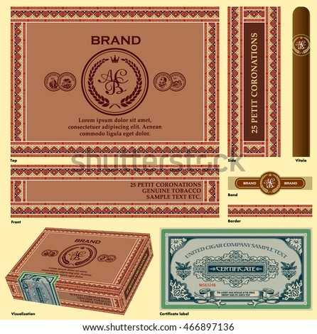 Cigar box design. A set of vector elements