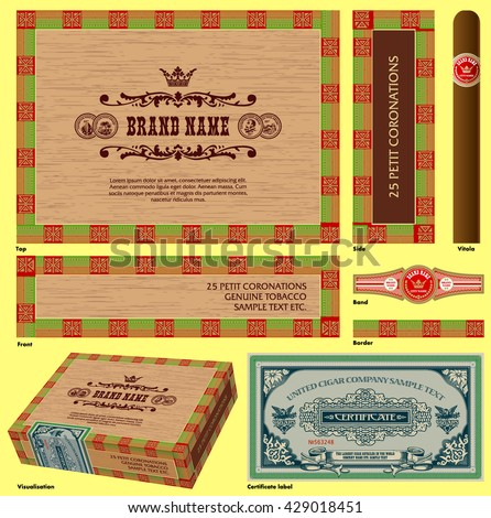 Cigar box design. A set of vector templates
