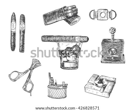 Cigar, lighter, ashtray, guillotines for cigars, gilded cutter, scissors, glass of whiskey. Set of cigars and smoking tobacco elements. Vintage illustration in engraving style