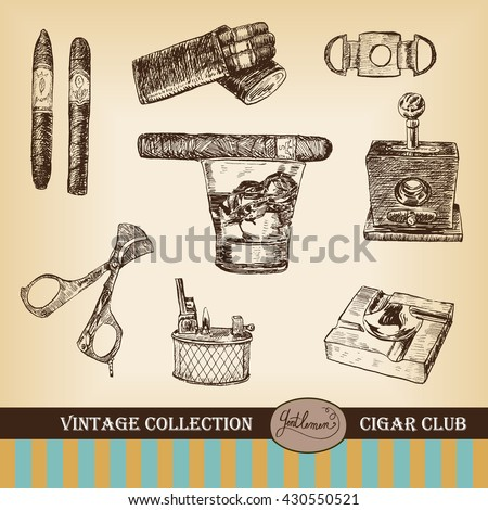 Cigar, lighter, ashtray, guillotines, gilded cutter, scissors, glass of whiskey. Set of cigars and smoking tobacco elements. Vintage illustration in engraving style