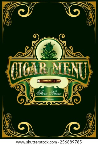 Cigar Menu Sign List Luxury Premium Cigarette Tobacco