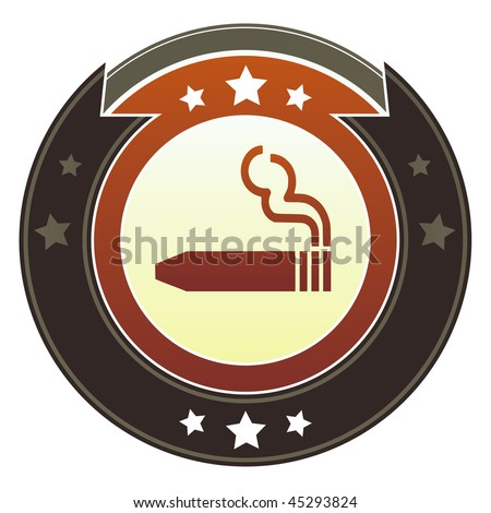 Cigar or smoking permitted icon on round red and brown imperial vector button with star accents