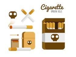 Cigarette and lighter set. Smoking kill concept. flat design element. vector illustration