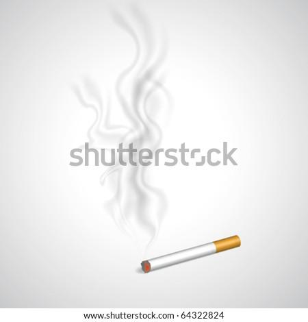 Cigarette and smoke in vector