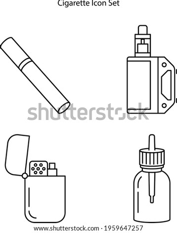 cigarette icon set isolated on white background. cigarette icon thin line outline linear cigarette symbol for logo, web, app, UI. cigarette icon simple sign.