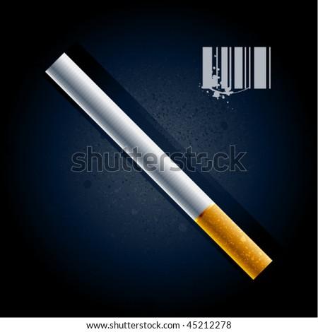 Cigarette on dark background. Vector illustration.