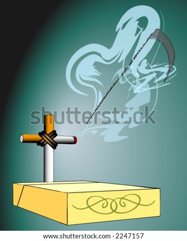 cigarette provokes the premature death - stock vector