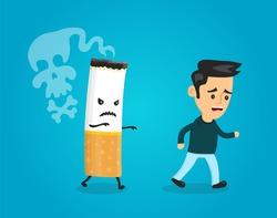 Cigarette runs over man guy. Stop smoking concept. Cigarette kills. Vector flat cartoon character illustration. quit, cigarett, teeth, no smoking,anti cancer