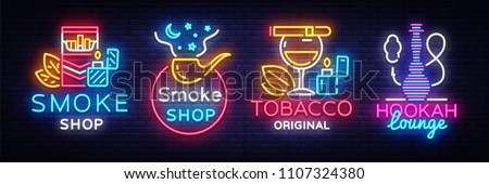 Cigarette Shop Logo collection Neon Vector. Smoke shop neon signs, Hookah lounge, vector design template vector illustration on tobacco theme, bright night cigarette advertisement. Vector