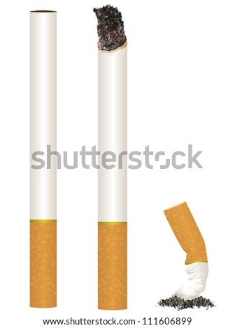 Cigarette Stages from New to Put Out/Scalable Vector Artwork