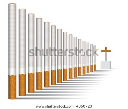 Cigarettes alley and a grave, vector