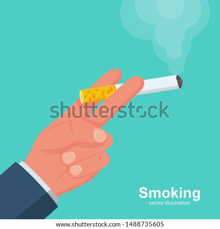 Cigarettes in hand man. Smoker holds a smoking cigarette. Vector illustration flat design. Isolated on background. Bad habits. Dangers of smoking.