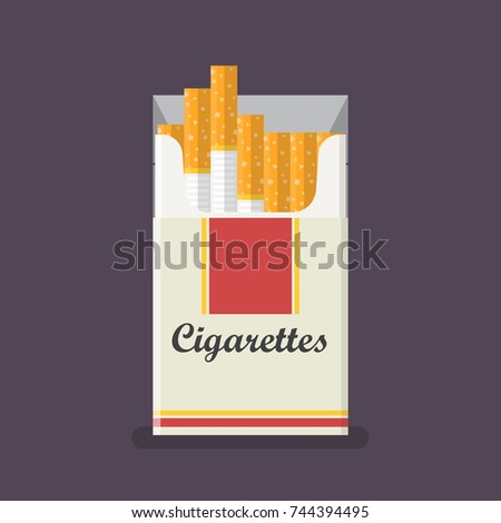 cigarettes pack in flat style