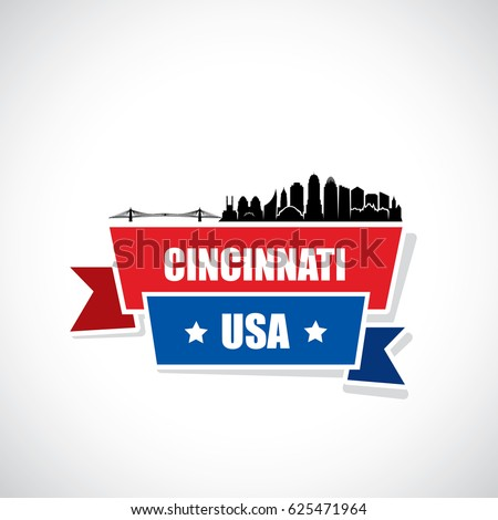 cincinnati skyline   ribbon...