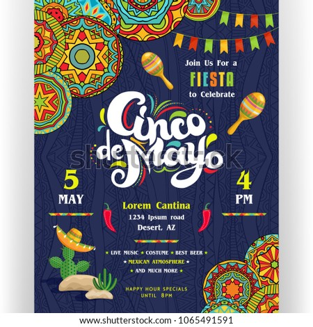 Cinco De Mayo announcing poster template. Text customized for invitation for fiesta party. Creative lettering, maracas, cactus in sombrero. Mexican style ornaments for background. Vector illustration. Foto stock ©