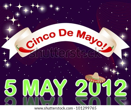 Cinco de Mayo background with a banner against the sparkling lights. 10 EPS. Vector illustration.