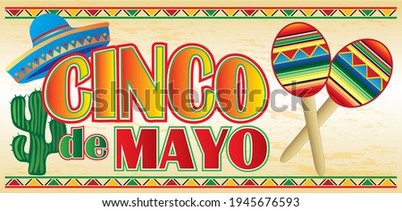 Cinco de Mayo Banner with Maracas and Sombrero Foto stock ©