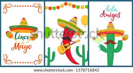 Cinco de Mayo. Hola Amigos. Hand drawn lettering. A set of festive posters to the Mexican national holiday. Funny chili pepper plays on the guitar. Cartoon cactus in sombrero holds maracas Foto stock ©