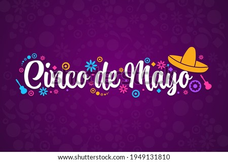 Cinco de Mayo. Inscription May 5 in Spanish. Holiday concept. Template for background, banner, card, poster with text inscription. Vector EPS10 illustration Foto stock ©