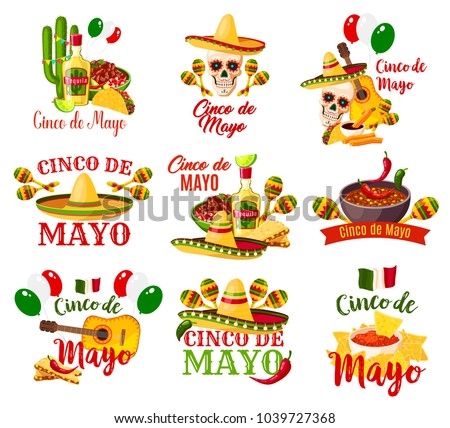 Cinco de Mayo labels vector. Federal holiday in Mexico Cinco de Mayo. Different symbolic signs with chili or hat, maracas and guitar, tequila and lime, colorful festive balloonstraditional holiday