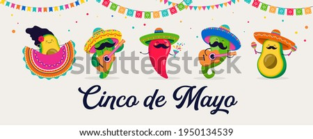 Cinco de Mayo - May 5, federal holiday in Mexico. Fun, cute characters as chilli pepper, avocado, cactus playing guitar, dancing and drinking tequila.
