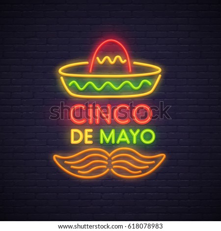 Cinco De Mayo neon sign, bright signboard, light banner. Mexico logo, emblem