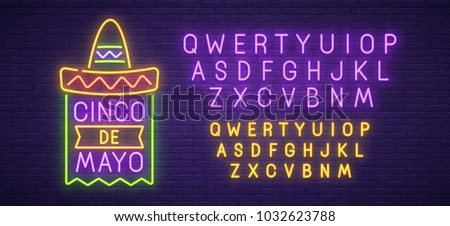 Cinco De Mayo neon sign, bright signboard, light banner. Mexico logo, emblem and label. Neon text edit.  Vector illustration.
