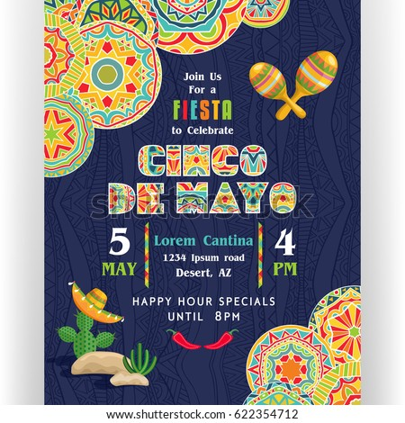 Cinco De Mayo poster template. Text customized for invitation for fiesta party. Ornate text and details. Mexican attributes at dark ornament for background. Vector illustration.