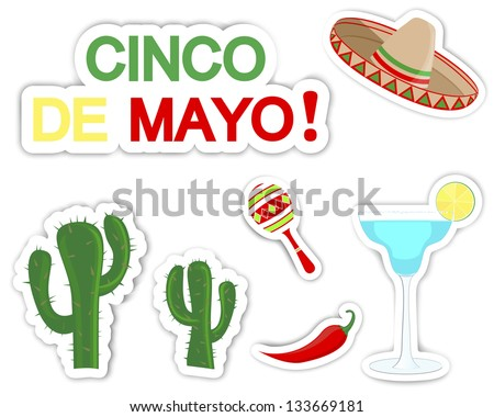 Cinco De Mayo Set of stickers with symbols of the holiday.10 EPS Vector illustration