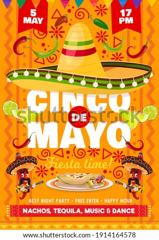 Cinco de Mayo vector flyer with national mexican symbols sombrero hat and tequila in glass shot with lime, red chili japapeno peppers mariachis playing guitar. Cartoon Cinco de Mayo fiesta invitation Foto stock ©