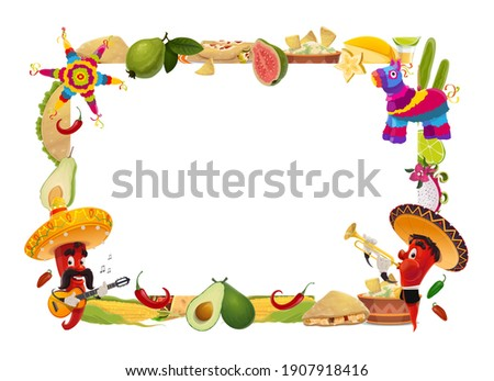 Cinco de Mayo vector frame, mexican holiday. Festive border with jalapenos in sombrero play guitar and trumpet. Mexico drink, food tacos, enchiladas and tequila with lime, corn and fruits with pinata