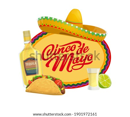 Cinco de Mayo vector icon with traditional mexican symbols sombrero hat, tequila with lime and glass shot and tacos. Typography and zigzag ornament. Cartoon Cinco de Mayo isolated oval label or badge Foto stock ©