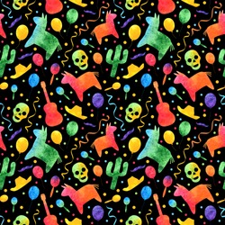 Cinco de Mayo watercolor rainbow vector seamless pattern with sombrero, balloons, pinata, confetti and maracas