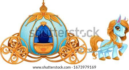 Cinderella pumpkin carriage. Vector isolated illustration Stock photo ©