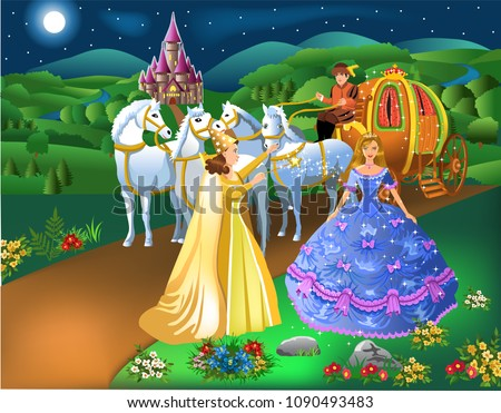 Stock Photo Cinderella scene with godmother fairy transforming pumpkin into carriage with horses and the girl into a princess