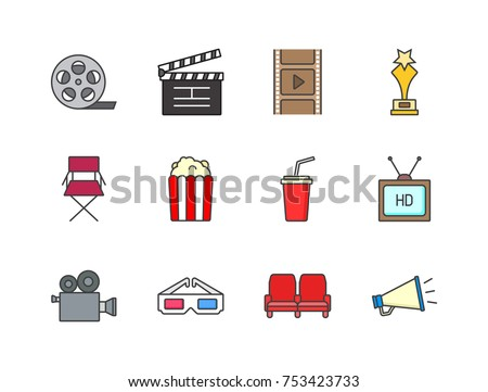 Cinema and filming related  flat line colored icons film strip, clapper, countdown, movie awards, popcorn, soda drink, camera, tv, 3D glasses, megaphone.