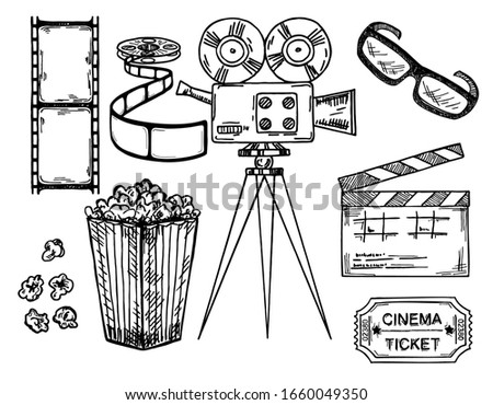 Cinema and making films hand drawn set with clapper reel camera, movie ticket and popcorn isolated on white background sketch vintage vector illustration